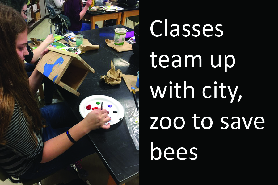 Some of Mrs. Ramberg's students have been asked to paint bee houses for the Topeka Zoo's pollinator palooza. Students painted native plants and flowers that would attract Kansas bees.