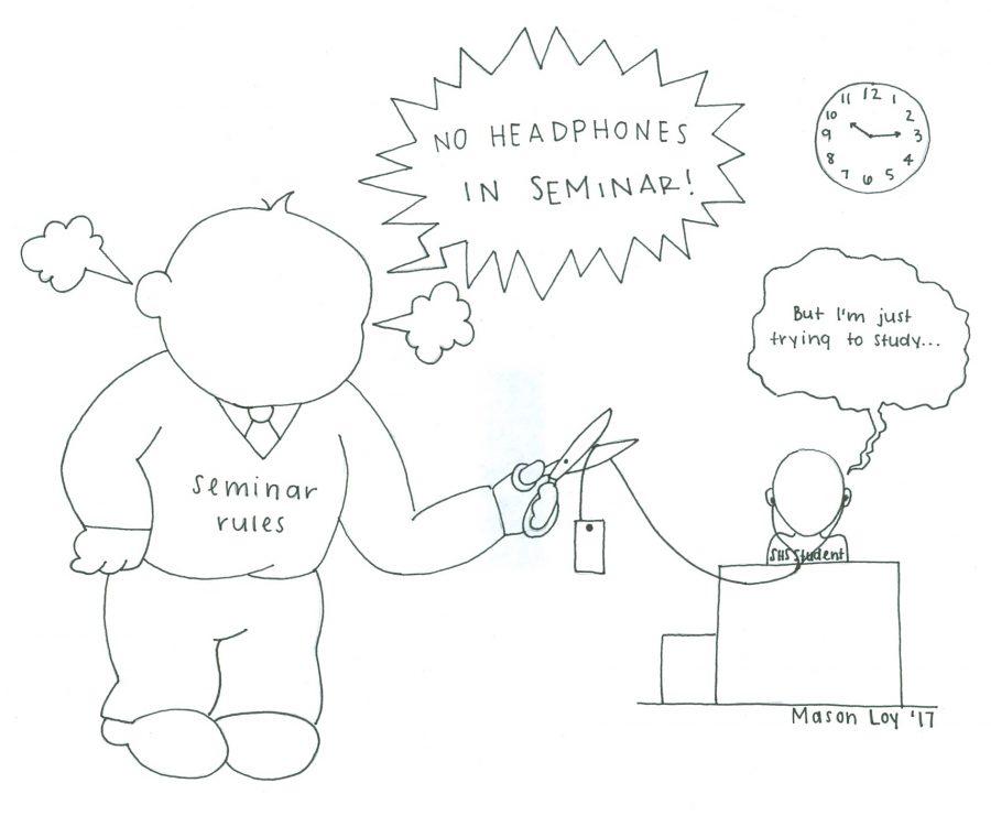 Seminar rules cutting cord on headphones
