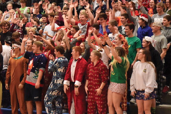 Catching Z's: The theme for the basketball game against Shawnee Heights is Christmas Pajamas. The Vikings prevailed to win the game, 51-45.