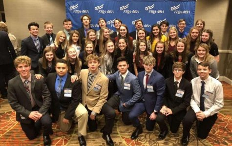 Seaman FBLA members pose for a group picture at the FBLA National Convention.  36 students travelled to Denver to attend the conference.