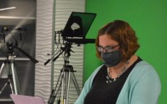 Mrs. Kristy Dekat works on lessons in the SVTV studio.  Dekat is joining Seaman High as the Broadcast Journalism teacher.