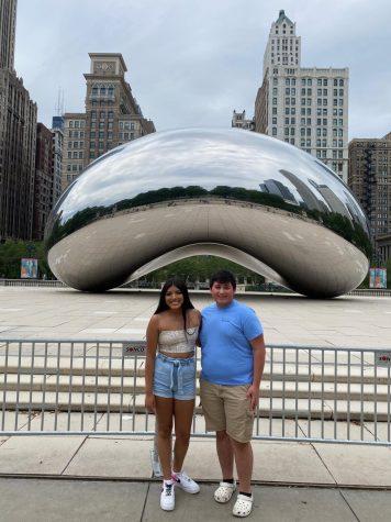 Ishta Wabaunsee and Rene Cabrera pose next to the Chicago bean.