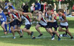 The cross country varsity boys starting their race at the Joe Schrag Invitational meet, on September 12th 2020,