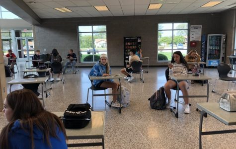 Students practice social distancing during first lunch. The entire cafeteria was restructured prior to the beginning of school to accommodate CDC guidelines.