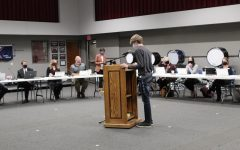 Junior Theo Wagnon speaks at the October Seaman Board of Education meeting.  Wagnon focused his speech to the board on statistics related to COVID-19.