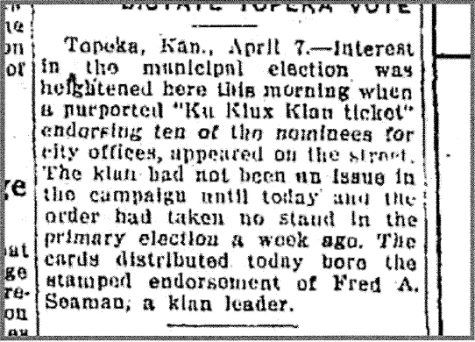 This April 7, 1925 article in the Hutchison News names Fred Seaman as a klan leader. This article can be accessed through Newspapers.com.