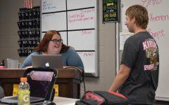 Mrs. Koenen talks to  sophomore Jordan about FFA.